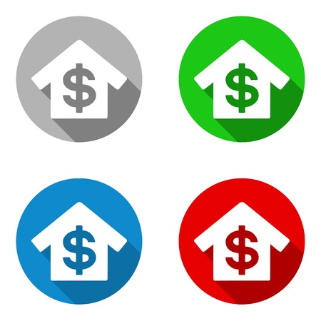 dollar sign icon: This is vector set colorful flat icons bank