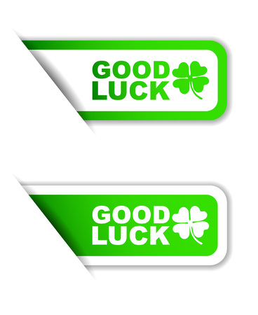 luckiness: This is green vector paper sticker good luck two variant