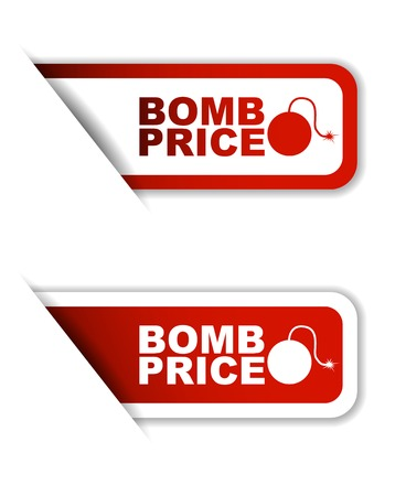 bomb price: This is red vector paper sticker bomb price two variant