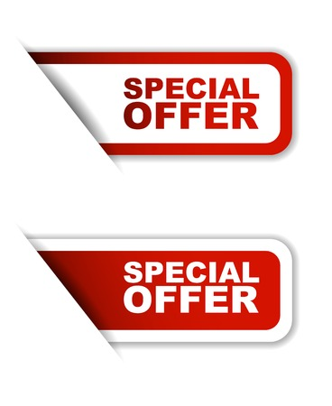 promotional offer: This is red vector paper sticker special offer two variant