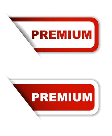 discount banner: This is red vector paper sticker premium two version
