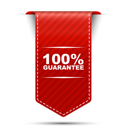 This is red vector banner design 100 guarantee