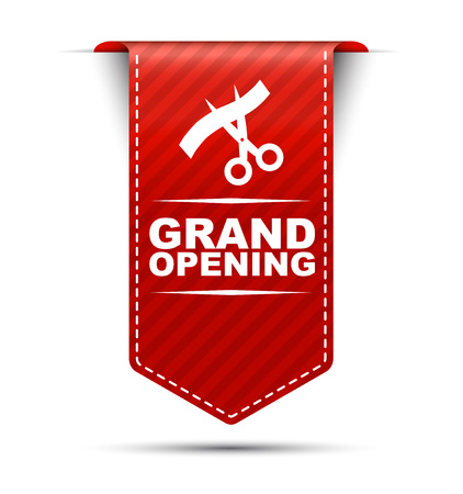 inaugural: This is red vector banner design grand opening Illustration