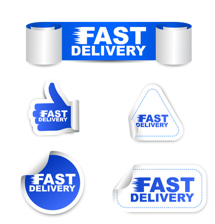 paper delivery person: This is blue set vector paper stickers fast delivery