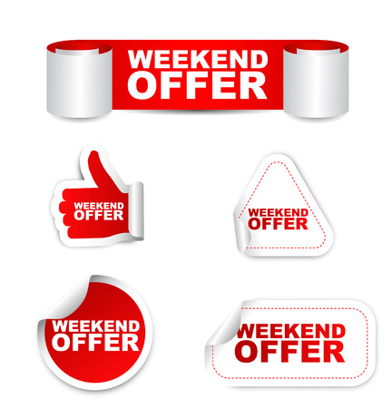 This is red set vector paper stickers weekend offer Ilustrace