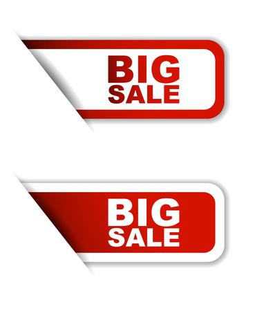 the big: Esto es de color rojo conjunto de vectores de papel pegatinas gran venta