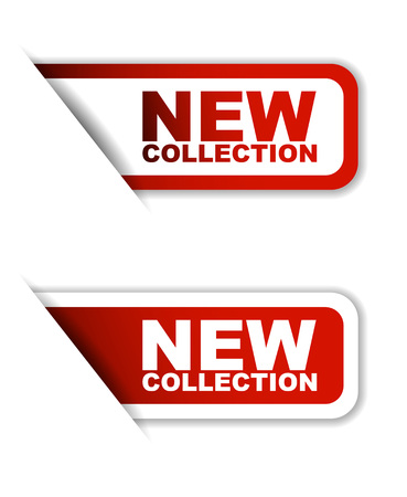 This is red set vector paper stickers new collection
