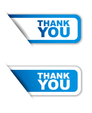 This is blue set vector paper stickers thank you