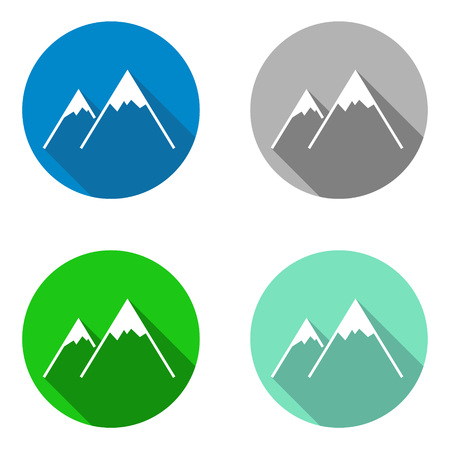 This is vector set colorful flat icons mountain