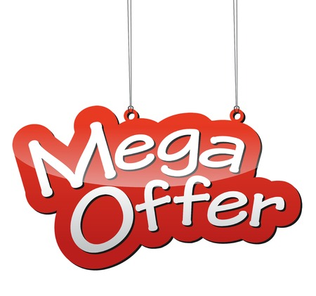 offer icon: This is red vector background mega offer