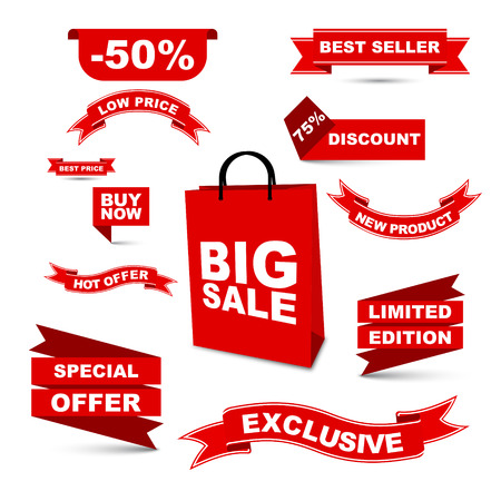 prices: This is vector set red ribbons - big sale hot offer special offerlow price buy now best price best seller discount new product liited edition exclusive