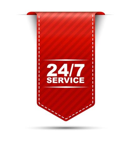 Ciò è il disegno rosso della bandiera di vettore servizio 24/7