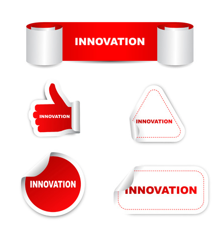 innovator: This is red set vector paper stickers innovation