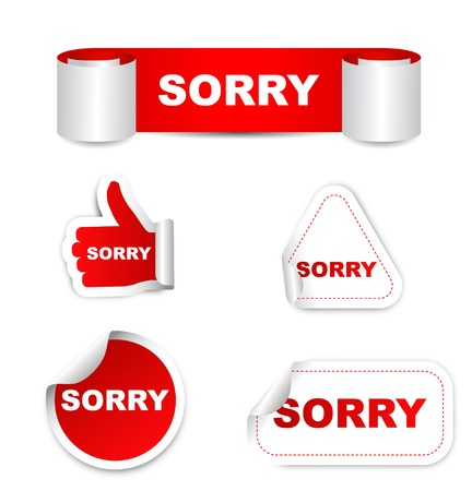 apologize: This is red set vector paper stickers sorry