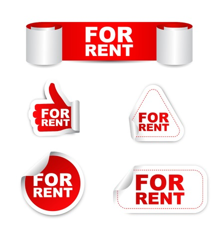 renting: This is red vector paper sticker for rent