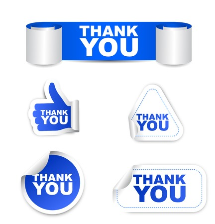 This is blue vector set paper stickers thank you