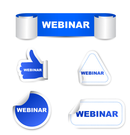 connection block: This is blue set vector paper stickers webinar
