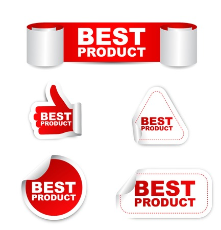 best product: This is red vector set paper stickers best product Illustration