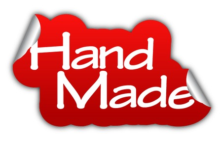 made by hand: hand made, sticker hand made, red sticker hand made, red vector sticker hand made, hand made eps10, design hand made, sign hand made Illustration