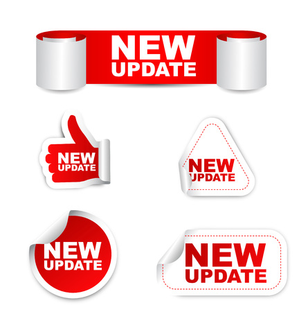 time sharing: update, new update, sticker new update, red sticker new update, red vector sticker new update, set stickers new update, new update eps10, design new update, sign new update Illustration