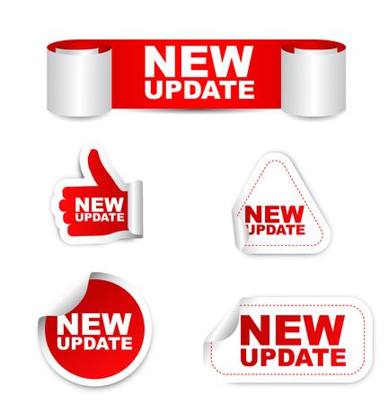 update, new update, sticker new update, red sticker new update, red vector sticker new update, set stickers new update, new update eps10, design new update, sign new update Illusztráció