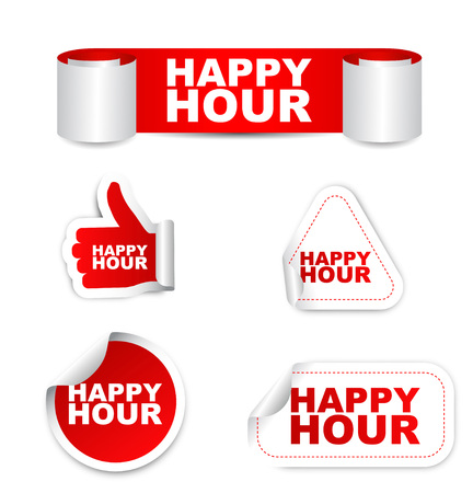 happy hour, sticker happy hour, red sticker happy hour, red vector sticker happy hour, set stickers happy hour, design happy hour , happy hour eps10, sign happy hour, banner happy hour Ilustração