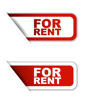 rent: This is red set vector paper stickers for rent