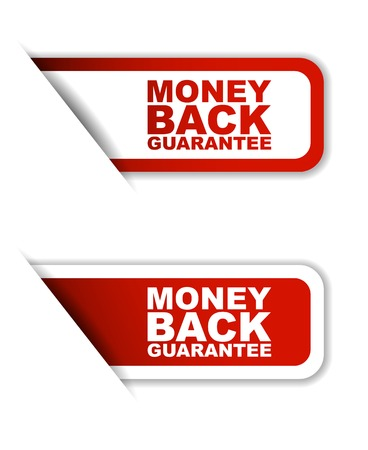 This is red set vector paper stickers money back guarantee