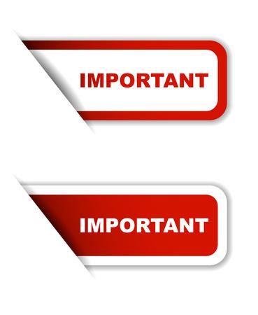 Dit is rood set vector papieren stickers belangrijk