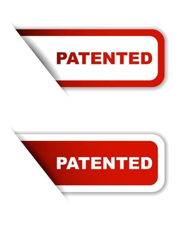 Dit is rode set vector papieren stickers gepatenteerd Stock Illustratie