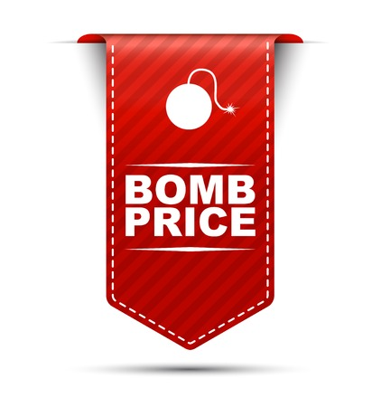 bomb price: This is red vector banner design bomb price