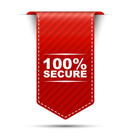 trusty: This is red vector banner design 100% secure