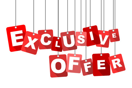 exclusive offer, red vector exclusive offer, flat vector exclusive offer, background exclusive offer Ilustrace