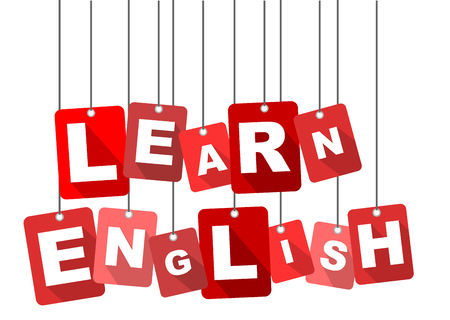 english letters: learn english, red vector learn english, flat vector learn english, background learn english Illustration