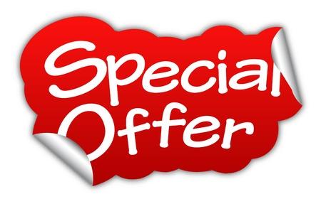oferta especial, etiqueta engomada oferta especial, adhesivo rojo oferta especial, rojo vector oferta especial