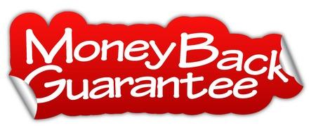 Garanzia soddisfatti o rimborsati, garanzia soddisfatti o rimborsati con adesivo, garanzia soddisfatti o rimborsati con adesivo rosso, adesivo rosso Archivio Fotografico - 59666116