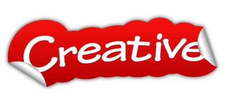 creative: creative, sticker creative, red sticker creative, red vector sticker creative