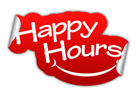 happy hours: happy hours, sticker happy hour, red sticker happy hour, red vector stickers happy hour