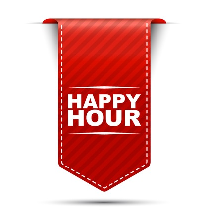 happy hour, banner happy hour, red banner happy hour, red vector banner happy hour, vertical banner happy hour, design happy hour, sign happy hour Ilustração