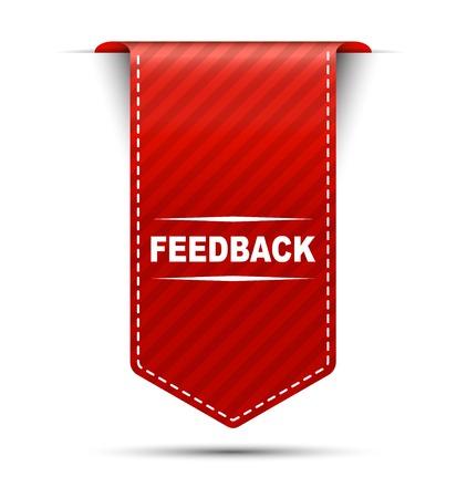 feedback: feedback, banner feedback, red banner feedback, red vector banner feedback, vertical banner feedback Illustration