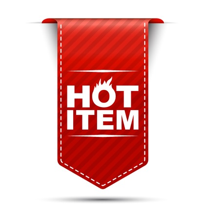 hot item, banner hot item, red banner hot item, red vector banner hot item, vertical hot item