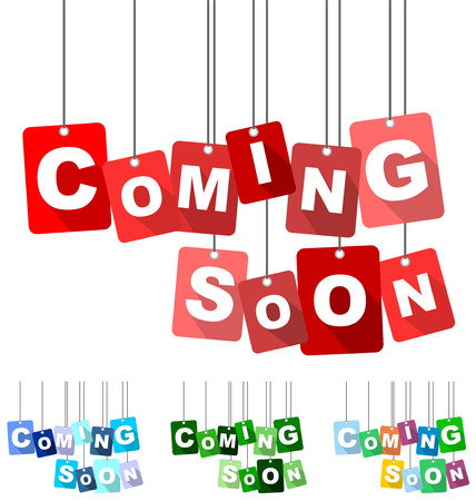 coming soon, red vector coming soon, flat vector coming soon, background coming soon Ilustrace