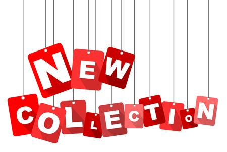 nueva colección, vector nueva colección rojo, plana nueva colección de vectores, fondo nueva colección Ilustración de vector
