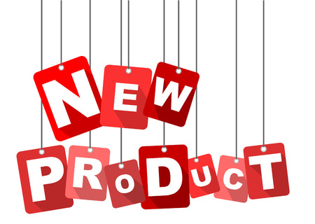 nieuw product, rood vector nieuw product, plat vector nieuw product, achtergrond nieuw product