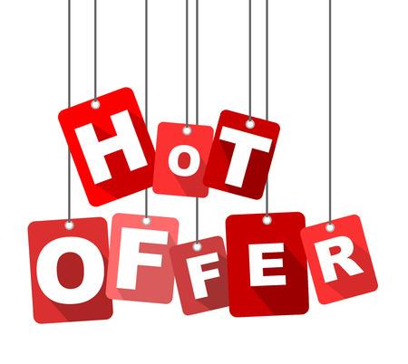 hot offer, red vector hot offer, flat vector hot offer, background hot offer