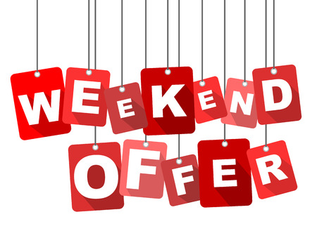 limited access: weekend offer, red vector weekend offer, flat vector weekend offer, background weekend offer Illustration