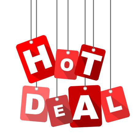 hot deal, red vector hot deal, flat vector hot deal, background hot deal Illustration