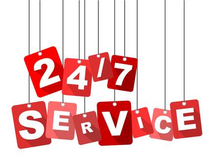 24/7 service, red vector 24/7 service, flat vector 24/7 service, background 24/7 service