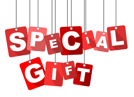 special occasion: special gift, red vector special gift, flat vector special gift, background special gift Illustration