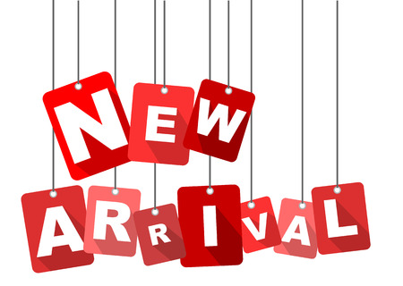 新しい到着、赤いベクトルの新しい到着、平面ベクトルの新しい到着、背景新しい到着